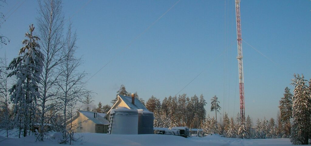 ZOTTO House Bunker and 304m Tower in Siberia in Winter with snow and blue sky