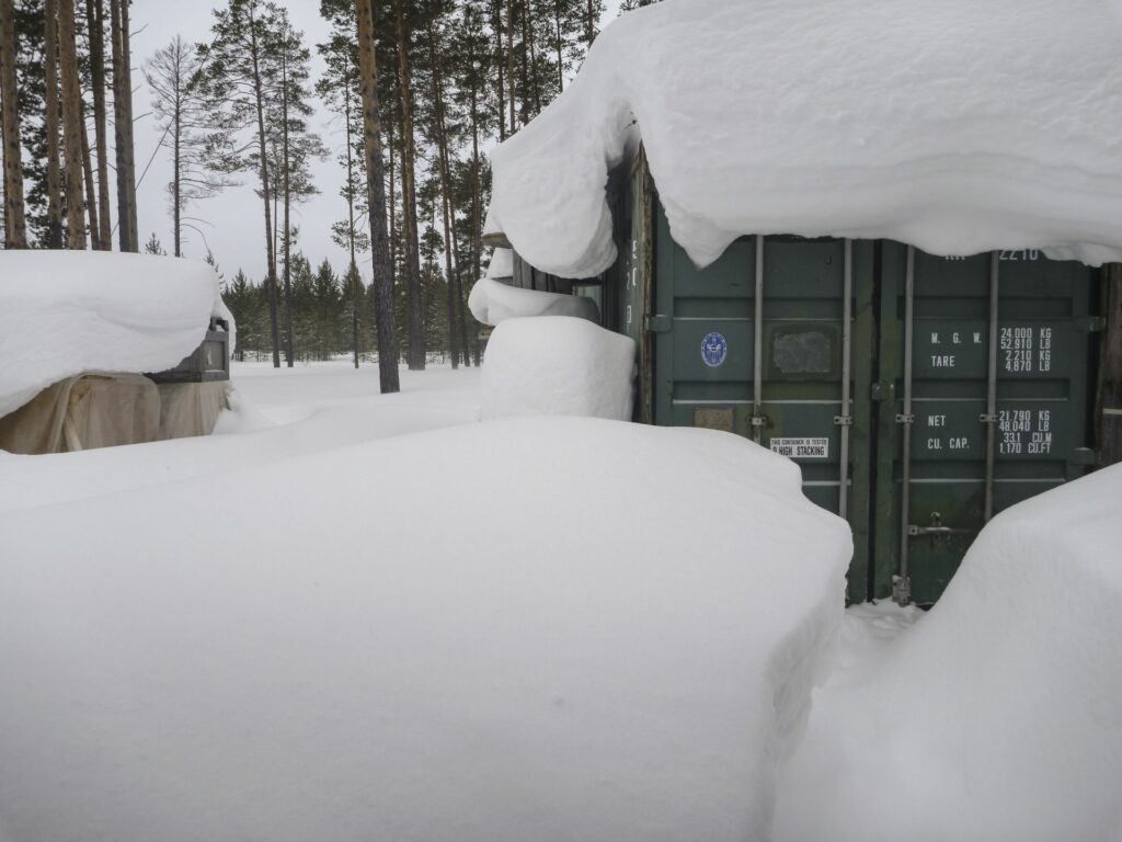 snow covered container