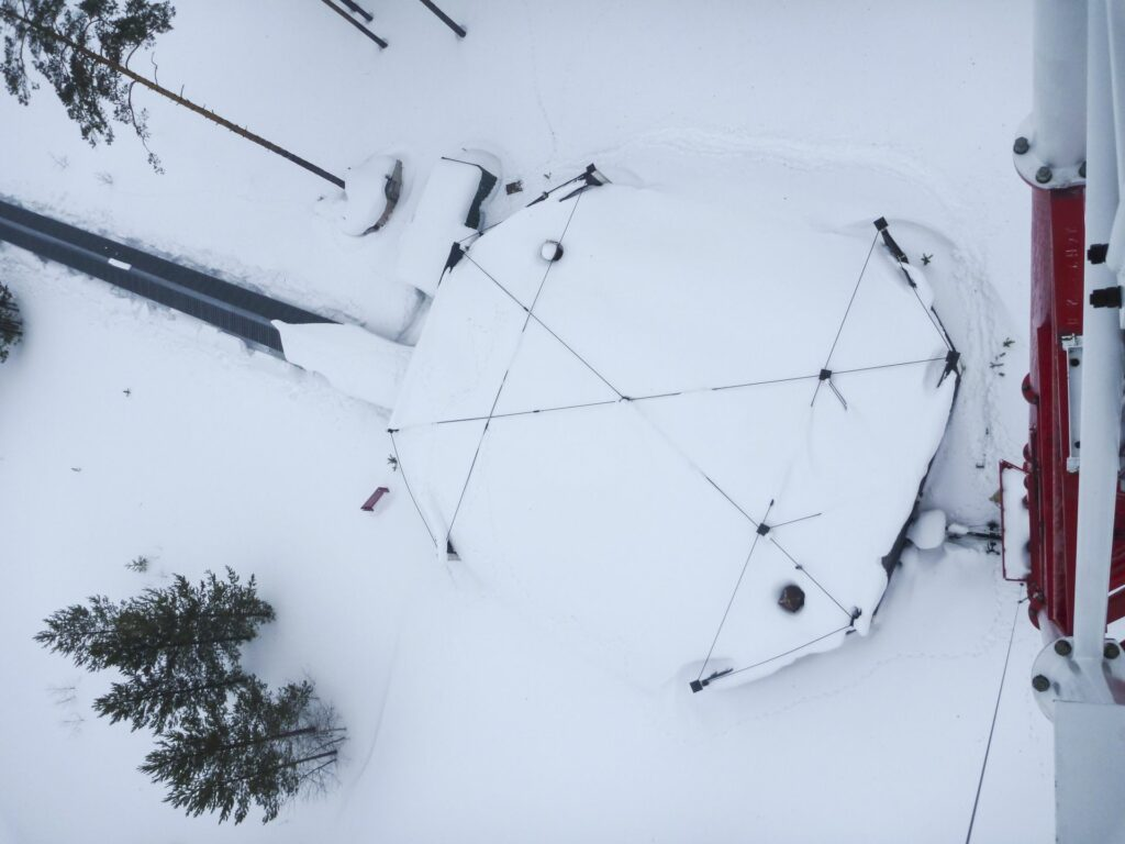 snow-covered bunker roof from above