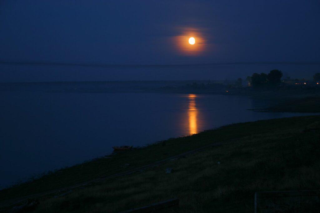 nearly Full Moon over the Yenisei