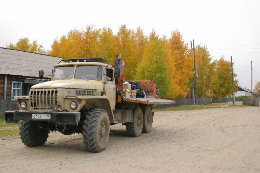 Truck in Zotino in autumn