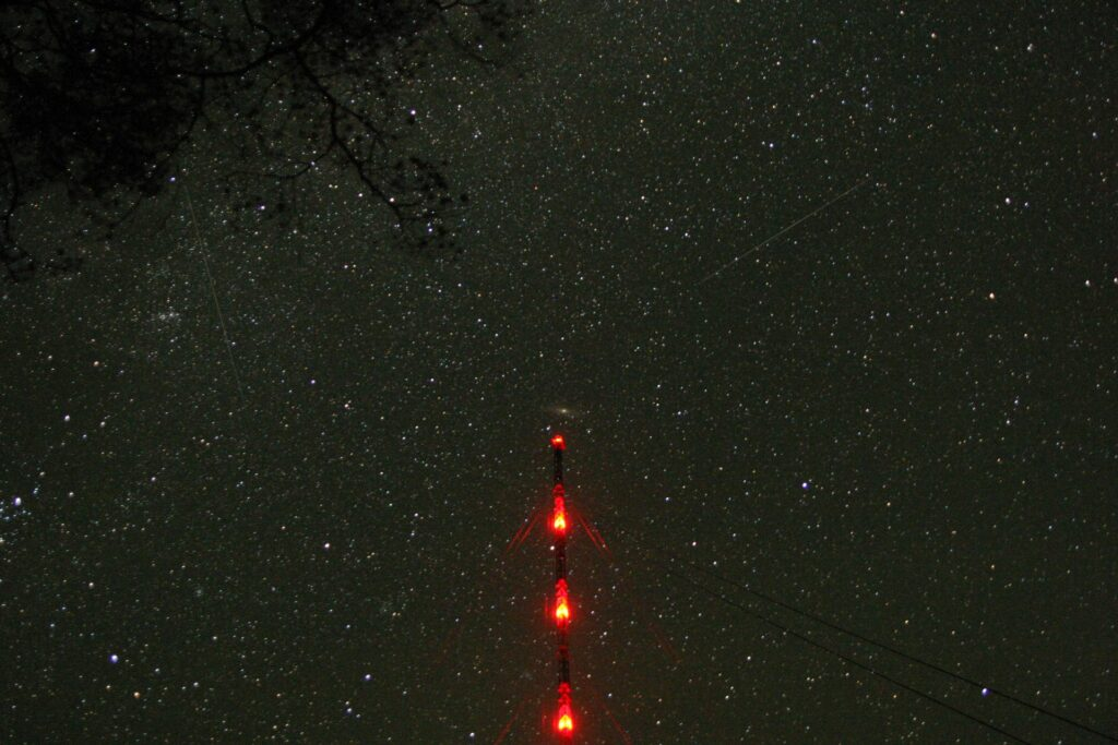 starry sky with tall tower in Zotto Siberia