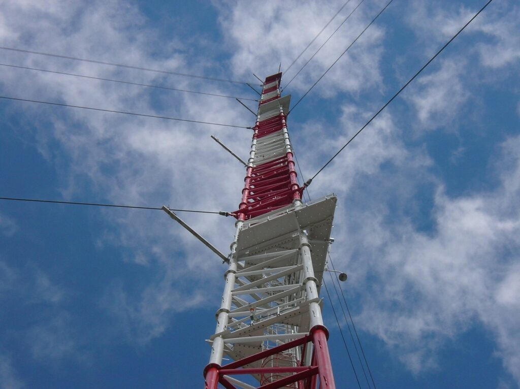 first half of the tall tower during construction