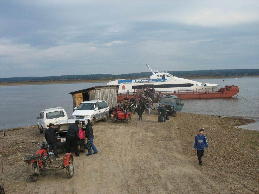 Boat landing place on the river Yenisei