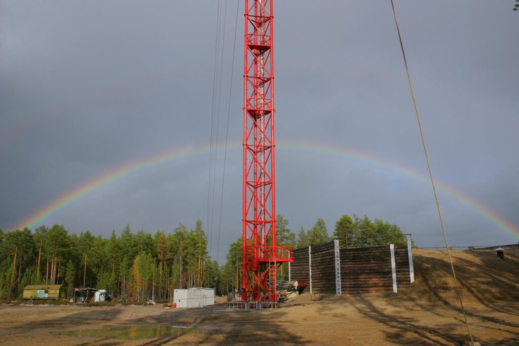 double rainbow behind Zotto Tall tower