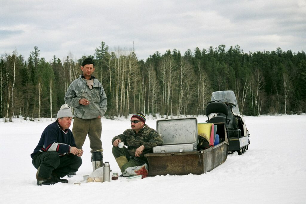 lunch break at the snowmobile in the siberian Taiga