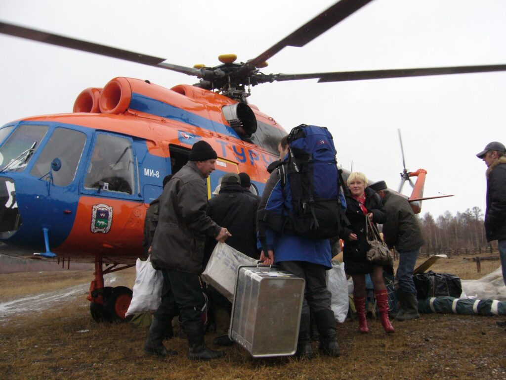 Departure from Zotto by helicopter